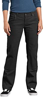 Dickies Womens FD2500 Relaxed Straight Stretch Duck Double-Front Carpenter Pant Work Utility Pants - Black