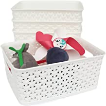 Honla Weaving Plastic Storage Baskets/Bins Organizer with Handles,Set of 4,White