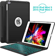 iPad Mini 5 / Mini 4 Keyboard - 135 Degree Flip 7 Color Backlit Aluminum Shell Smart Folio Keyboard Case with Auto Sleep/Wake for iPad Mini 5th Gen 2019 / iPad Mini 4 2015, Black