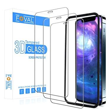 Foval Tempered Glass Compatible with iPhone 12 Pro Max Screen Protector 6.7 Inch 2020 (3 Pack) (Full Coverage), (Case Friendly) HD Glass Screen Protector for iPhone 12 Pro Max with Alignment Tool