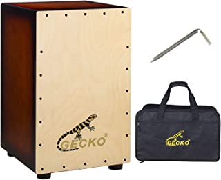 GECKO Wooden Cajon Stringed Percussion Box Gecko Pattern Hand Drum with Large Rubber Feet