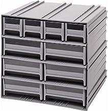 خزانة تخزين كوانتم QIC-4163GY رمادية متشابكة مع 10 أدراج رمادية، 29.9 سم في 29.9 سم في 28.9 سم