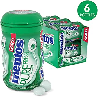 Mentos Pure Fresh Sugar-Free Chewing Gum with Xylitol, Spearmint, Halloween Candy, Bulk, 50 Piece Bottle (Pack of 6)