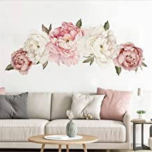 Flower Wall Sticker Pink Peony Floral Wall Decals Peel and Stick Wall Stickers PVC Removable Wall Decal for Girls Living Room Nursery Decor