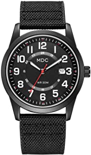 MDC Black Military Analog Wrist Watches for Men, Mens Army Field Tactical Sport Watch Work Watch, Waterproof Outdoor Casual Quartz Wristwatch - Imported Japanese Movement, 5ATM Waterproof