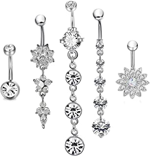CrazyPiercing Dangle Belly Button Rings Surgical Stainless Steel for Women Girls 5 PCS Set (Silver)