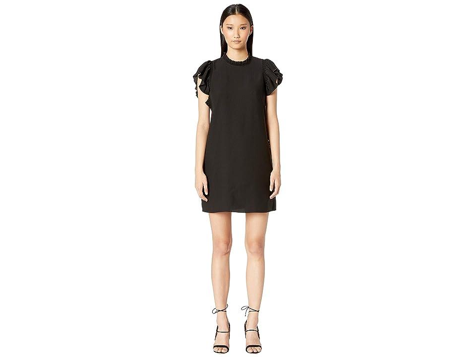 Kate Spade New York Dashing Beauty Ruffle Crepe Dress (Black) Women