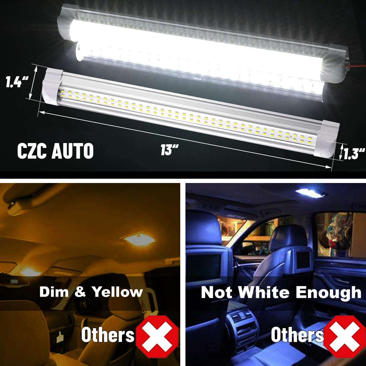 CZC AUTO 13 inch LED Interior Light Bar 12V RV Strip Light Fixture with ON//OFF Switch Camp Shell Light 72 LEDs Strip Lights for Van Lorry RV Motorhome Truck Trailer Boat Cabinet Camping 8 Pack