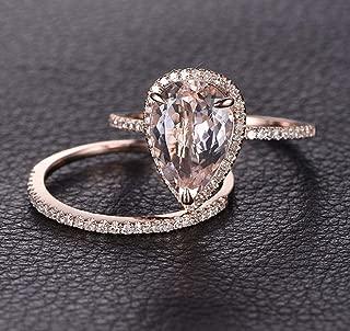 1.50 Carat Pear cut Morganite and Diamond Wedding Ring Set for Women In Rose Gold