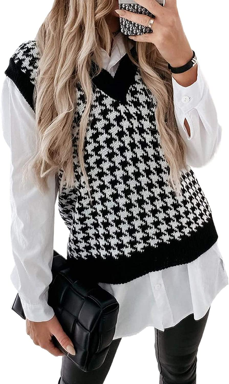 Acelitt Women Casual Fashion Sleeveless Knit Sweater Pullovers Vest