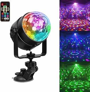 Bola de discoteca LED Chenci con USB para iluminación de fiestas, luz ambiental con 7modos de color, control por voz, con mando a distancia, soporte, batería