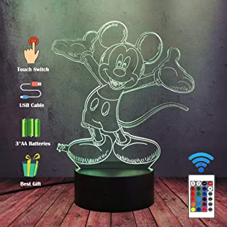 Luz de noche súper encantadora de Mickey Mouse 3D LED ilusión escritorio lámpara de mesa decoración del partido del hogar multicolor de noche festival de niños dibujos animados juguete de Navidad