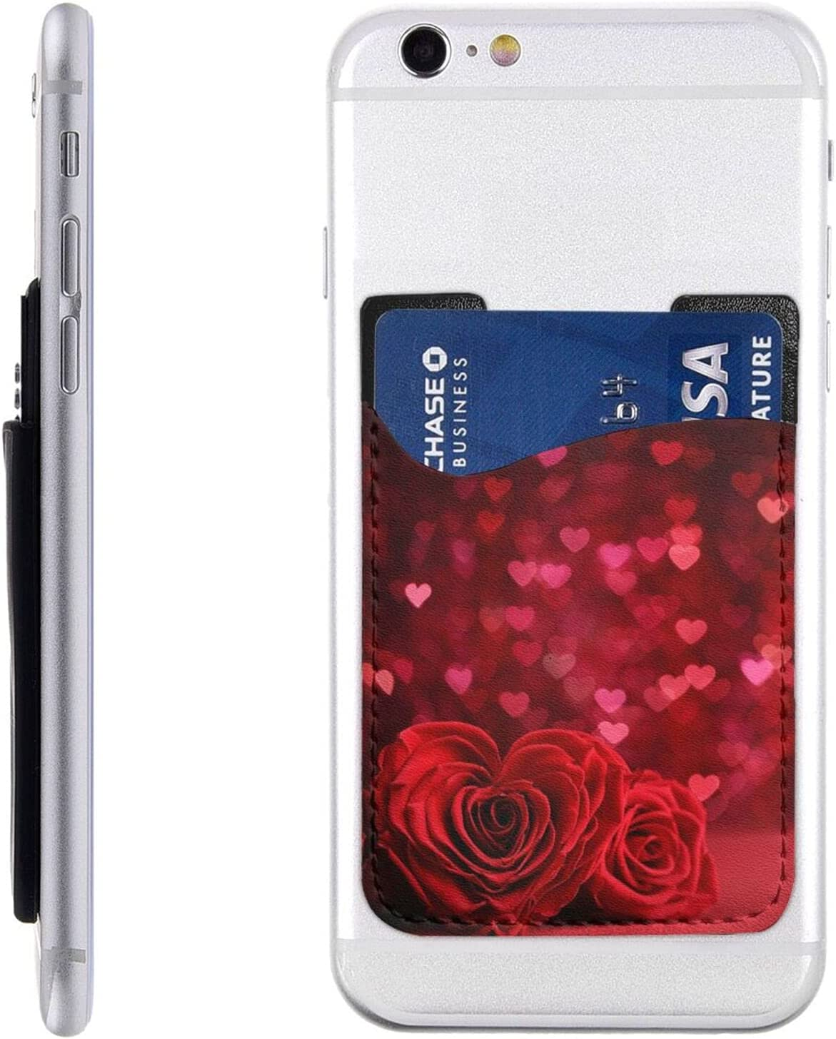 Factory outlet Red Heart Rose San Antonio Mall Phone Card Wallet On Cell Holder Stick