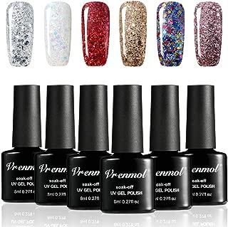 Vrenmol Diamond Gel Nail Polish Set 6pcs Soak Off UV LED Nail Lacquer Glitter Nail Art Manicure Kit 8ml