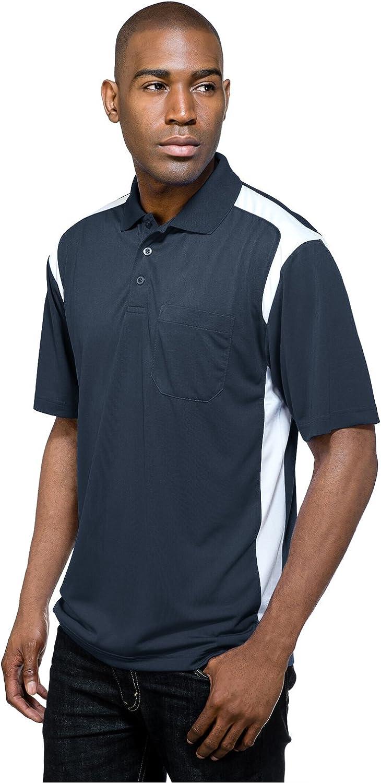 Tri-Mountain Performance Men's K145P Blitz Pocket S/S Polo Shirt (2X-Large, Navy/White)