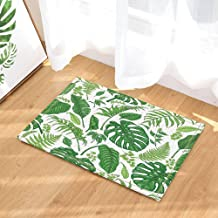 Foliage Leaves Decor, Watercolor Tropical Monstera Palm Leaves Bath Rugs, Non-Slip Doormat Floor Entryways Indoor Front Do...