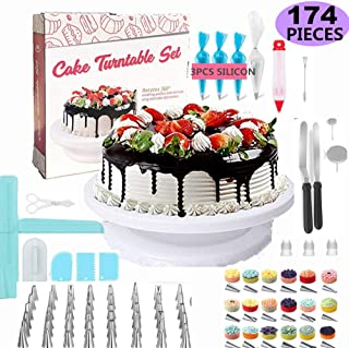 Cake Decorating Supplies/Baking Supplies 174pcs w/cake rotation turnable stand Frosting, Piping Bags back kit set Icing Spatulas Pastry Tools