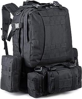Zeadio Mochila táctica militar, grande, mochila de supervivencia, paquete de asalto militar, bolsa Molle - negro