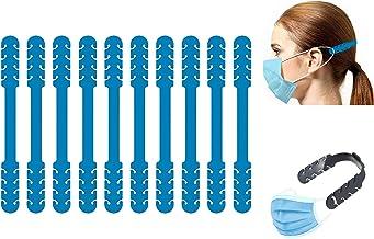TBOC Verstelbare Maskerverlengingshaak - [Pack 10 Eenheden] Extender Haken [Blauw] Siliconen Hook met Grepen Anti-Aanspann...