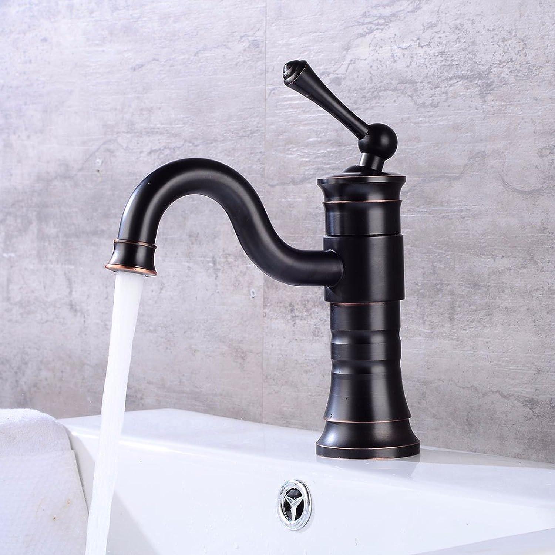 Bijjaladeva Antique Bathroom Sink Vessel Faucet Basin Mixer Tap The old Black redary hot & cold water ceramic valve single hole single handle bathroom basin mixer