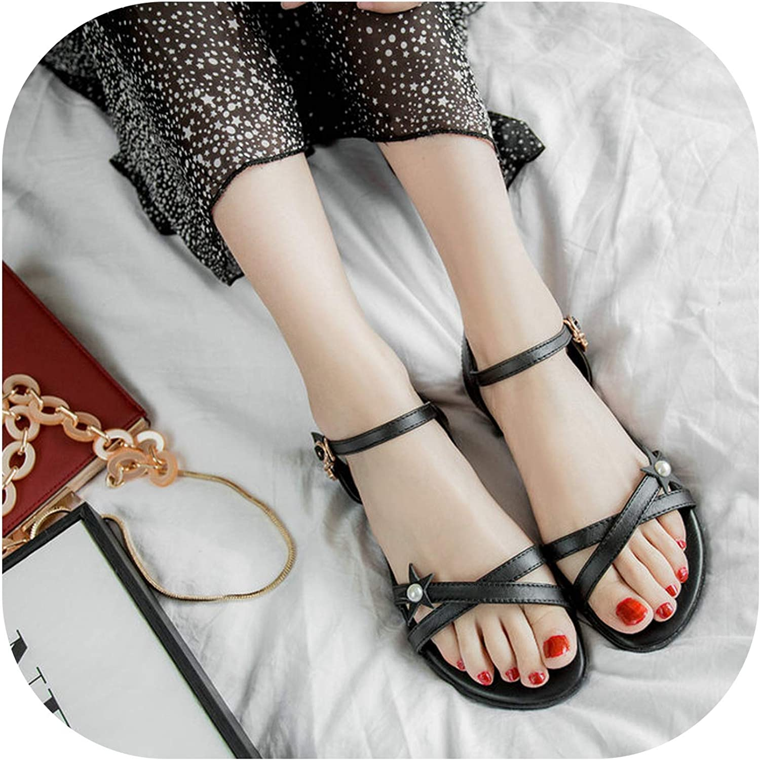 Women's Summer Casual shoes Comfortable Flat Heel Sandals Crystal Buckle Strap shoes Ladies White Black Size 34-43
