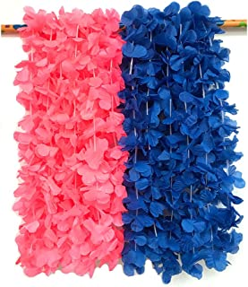LITTLE FEATHER Pink and Blue Flower Leis for Baby Shower Tropical Hawaiian Luau Flower Necklace Party Favors,Pack of 12