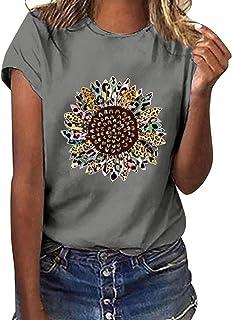 YAnGSale Top Donna T-Shirt Girasole Stampa Tee Top Camicie Manica Corta Plus Size Camicetta Comode Tunica Gilet Streetwear