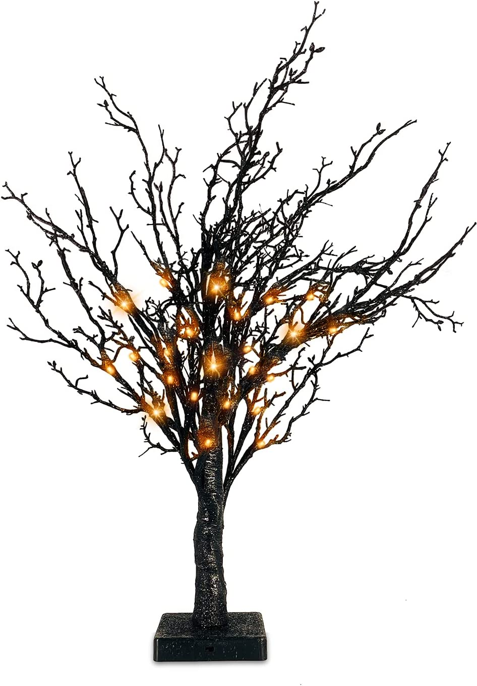 TURNMEON 24 Inch 24 LED Halloween Tree with Timer Black Glitter Twigs Tree with Orange Lights Battery Operated Tabletop Halloween Spooky Tree Decorations for Indoor Home Party Holiday Festival Decor