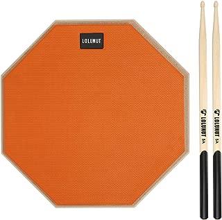 LOLUNUT 12 Inch Silent Drum Pad, Dumb Drum Beginner Rubber Practice Pad, with 5A Drum Sticks (12 Inch Orange)