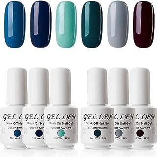 Gellen UV LED Soak Off Gel Nail Polish Set, Pack of 6 Sapphire Emerald Colors 8ml Each