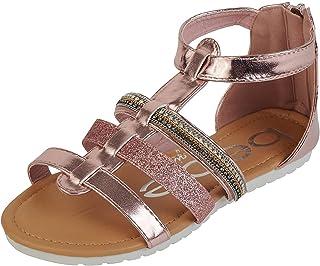 bebe Girls' Sandals - Glitter Strap Gladiator Sandals (Toddler/Little Girl/Big Girl)