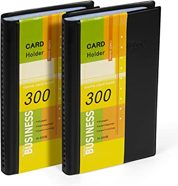 Business Card Holder Organizer Book - PU Leather, 2 Pack Total for 600 Business Cards