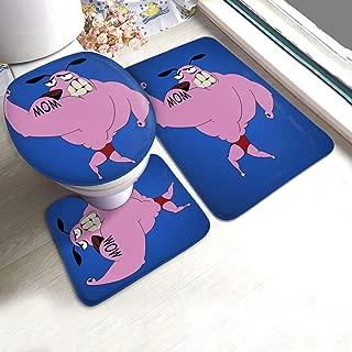 KRISMARIO Courage The Cowardly Dog Musle Man Bath Mat 3 Piece Set Soft Absorbent Anti-Slip Pads and Carpet Bath Mat Set, Bath Anti-Skid Pads + Toilet Lid Cover + Contour Pads Bathroom Carpet Sets