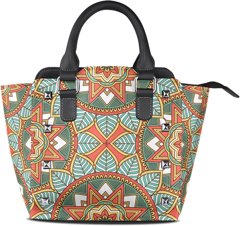 My Little Nest Women's Top Handle Satchel Handbag Abstract Vintage Geometrical Pattern Ladies PU Leather Shoulder Bag Crossbody Bag