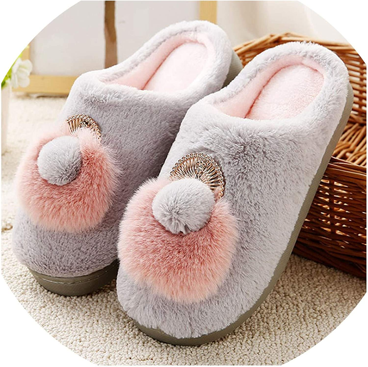 Can't be satisfied Women Slippers Winter Warm Soft Home Indoor Slippers Cartoon Flats Plus Size Women Slipper,Grey shoes,9.5