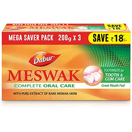 Dabur Meswak: India's No-1 Fluoride Free Toothpaste with Antibacterial, Anti Inflammatory & Astringent benefits  Helps fight Plaque, Tartar, Cavity and Tooth Decay - 600gm(200g*3)