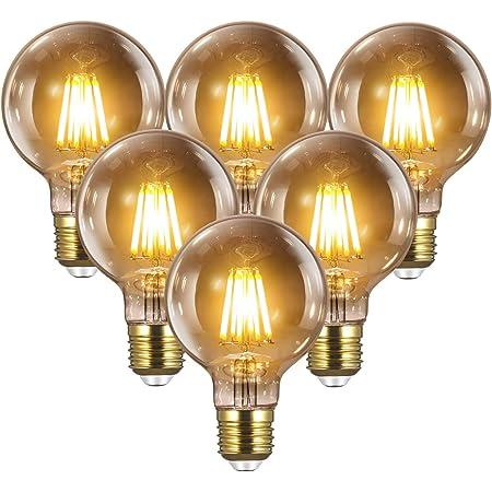 Ampoule E27 Vintage Edison LED - 8W(Égal à 80W) 1000LM / 2700K, YUNLIGHTS 6PCS Rétro G80 Ampoules de Décorative Lampe Filament Ampoule pour Restaurant Bar   Dimmable Vintage Ampoules à Incandescence