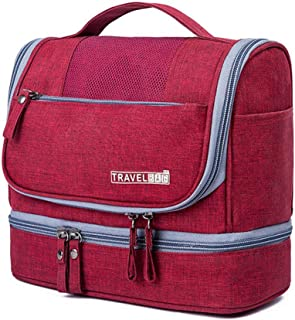 Hamkaw Hanging Toiletry Bag Women, Large Travel Makeup Bag Organizer with 9 Compartments & Metal Hook, Portable Bathroom Toiletries Makeup Bags for Business Trip Gym Airplane Camping