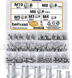 beihuazi® Nietmuttern Gewindenieten M3 M4 M5 M6 M8 M10 Blindnietmutter 304 Edelstahl Einnietmuttern Set(185PCS 6 Types)