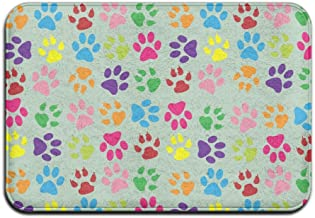 Soft Non-slip Paw Prints Colorful Bath Mat Coral Rug Door Mat Entrance Rug Floor Mats For Front Outside Doors Entry Carpet...
