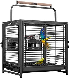 VIVOHOME 18 Inch Heavy Duty Wrought Iron Travel Carrier Portable Bird Parrot Cage with Feeding Bowls and Rope Perch