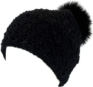 surell Handmade Starfish Knit Hat with Faux Fur Pom - Winter Ski Cap