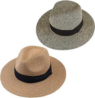 0db5f26c FURTALK Panama Hat Sun Hats for Women Men Wide Brim Fedora Straw Beach Hat  UV UPF