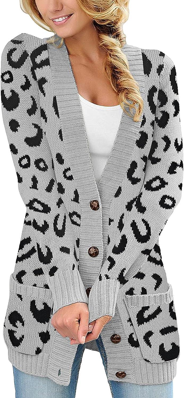 Lookbook Store Women Long Sleeve Leopard Print Sweater Coat Button Knit Cardigan