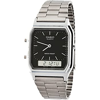 Casio AQ-230A-1D Casio Silver & Black Dual Time Watch - Silver / Silver Digit / Black / One Size