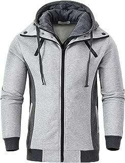 Men's Hoodies Slim Fit Double Zipper Fleece Hooded Sweatshirt Jacket