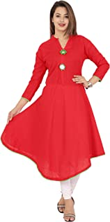 Red Marlin Women's Cotton Solid Umbrella Kurti (Red, Large)