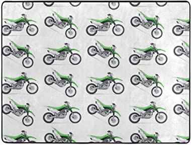 O-X_X-O Motorcycle Green Dirt Bike Colorful Patterned Modern Casual Area Rugs for Living Room Bedroom Carpet Thick Soft Large Flannel Mats Easy to Clean Stain 63 X 48 Inch