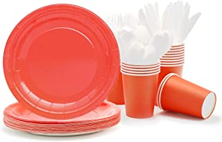 Party Paper Plates, Cups, Flatware, 120-Piece Disposable Dinnerware Set, Red, Includes 9-Inch Dinner Plates, 9oz Cups, Knives, Forks, and Spoons, Serves 24
