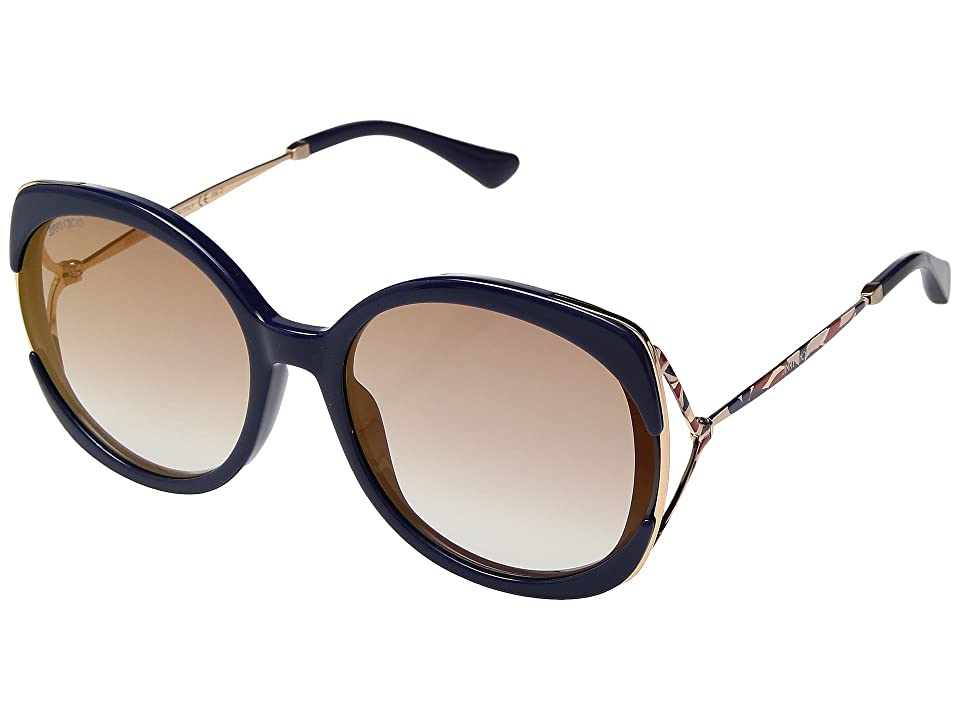 Jimmy Choo Lila/S (Blue/Brown/Gold Mirror) Fashion Sunglasses